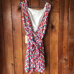 Kate spade rainbow geometric wrap dress size 5